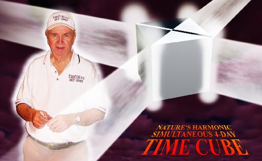 Dr Gene Ray, Cubic and Wisest Human (at left). Nature's Harmonic Simultaneous 4-Day 4-Corner Time Cube (right). Image by  R. Janczarski